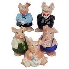 Original Set Of Five Wade Nat West Piggy Banks c1982-1988