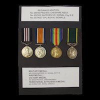 WW1 Medal Set Inc. Territorial Efficiency Medal Awarded To Reginald Ashton