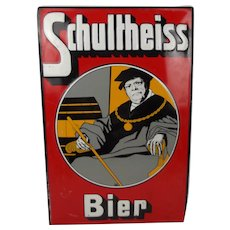 Enamel Advertising Sign For Schultheiss Beer 1905 dated