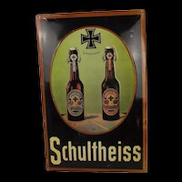 Enamel Advertising Sign For Schultheiss Beer 1910 dated