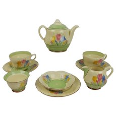 Clarice Cliff Crocus Pattern Tea Set c1930's