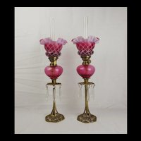 Pair of French Gaudard Oil Lamps c1900's
