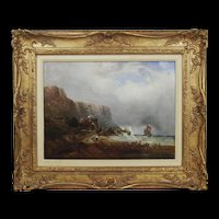 Framed Oil On Canvas 'Rounding The Headland' by William West (1801-1861)