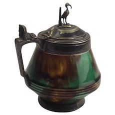 Pewter Lidded Majolica Honey Pot