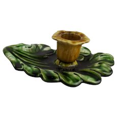 Scrolling Oak – Leaf Majolica Candle Holder