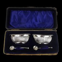 Cased Pair of Silver Salts With Spoons c1906