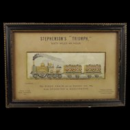 Stevengraph Silk Embroidered Framed Picture of Stephenson's Triumph c1870's