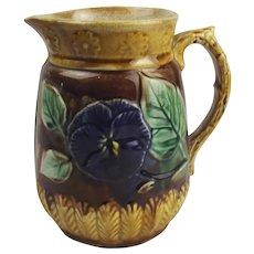 Majolica Iris Flower Pottery Jug