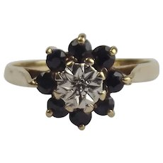 1984 9ct Yellow Gold Sapphire & Diamond Flower Head Ring UK Size O US 7 ¼