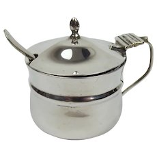 c1919 Silver Mustard Pot With Glass Liner & Spoon