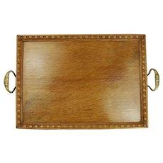 St Dunstans Crested Brass Handled Oak Serving Tray c1920's