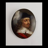 Portrait Miniature Brooch Of An English Civil War Cavalier