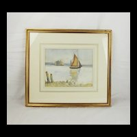 Framed Watercolour of A Solent Fort