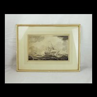 Framed Monochrome Watercolour Of Sailing Ships - Swains 1917