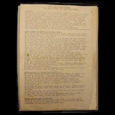 WW2 1940 Duty Intelligence Officer Operational Report Sheet
