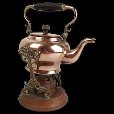 Late 19thC Copper Spirit Kettle With Burner & Stand