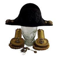 Circa 19th Century British Royal Navy Officer's Bicorn Hat and Epaulettes