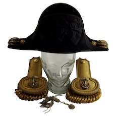Circa 19th Century British Royal Navy Officer's Bicorn Hat and Epaulettes