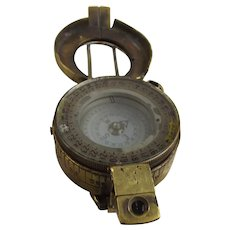 WW2 1942 British Military Brass Marching Compass Stamped TG Co Ltd, London, Mark 2