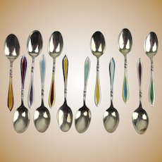 Cased Set of 12 Silver & Harlequin Guilloche Enamel Coffee Spoons c1930's