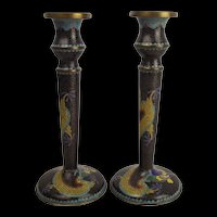 Pair Of Chinese Cloisonné Candlesticks