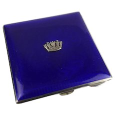 Ladies Silver & Guiloloche Enamel Compact With Naval Crown 1934