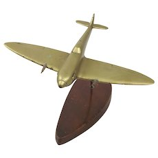 c1940 Brass Model Of A Spitfire Plane On Stand