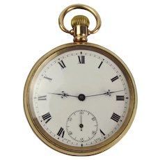 Gold Plated Open Face Pocket Watch