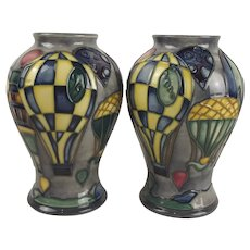 Boxed Moorcroft Millennial Set Balloon Pattern Vases c1999-2000 By Kerry Goodwin
