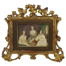 19thC English School Watercolour of The Three Bronte Sisters