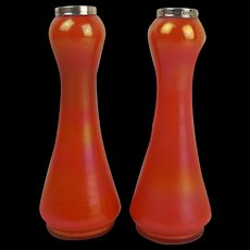 1924 Pair of Silver Mounted Iridescent Orange Bohemian Glass Vases