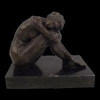 Cast Bronze Statue Of Seated Female Nude