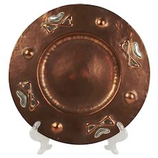 Arts And Crafts Copper & White Metal Dish