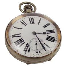 Large Argentan Goliath Silver Plate Pocket Watch