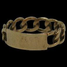 9ct Yellow Gold Chain Bracelet Ring UK Size O+ US 7 ¼