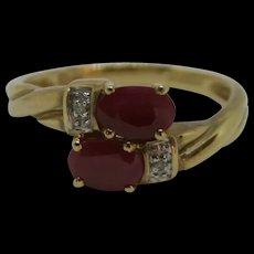 9ct Yellow Gold Ruby & Diamond Ring UK Size M+ US 6 ¼