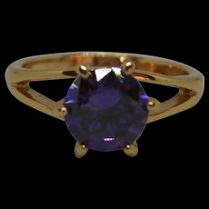 9ct Rose Gold & Purple Glass Solitaire Ring UK Size J US 4 ¾