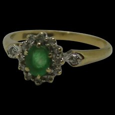 9ct Yellow Gold Emerald & Diamond Flower Head Ring UK Size L+ US 6