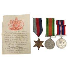 WW2 Medal Trio awarded to Michael Lash