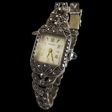 Premex White Metal & Marcasite Cocktail Wristwatch