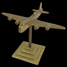 WW2 Heavy Bomber Short Stirling Brass Model On Stand