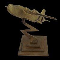 WW2 Short Sunderland Flying Boat Brass Model On Stand