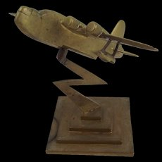 WW2 Short Sunderland Flying Boat Brass Model On Stand