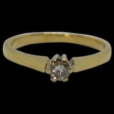 18ct Yellow Gold 0.15ct Diamond Solitaire Ring UK Size P US 7 ½