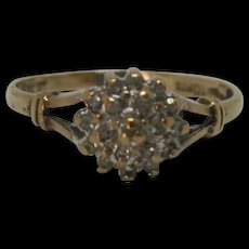 9ct Yellow Gold Diamond Cluster Ring UK Size K US 5 ¼
