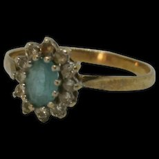 9ct Yellow Gold Blue Topaz & Cubic Zirconia Flower Head Ring UK Size N US 6 ½