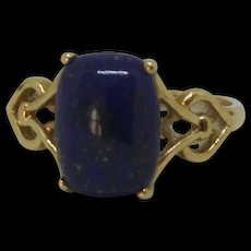 9ct Yellow Gold Lapis Lazuli Ring UK Size L US 5 ½