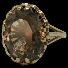 9ct Yellow Gold Smokey Quartz Ring UK Size N+ US 6 ¾