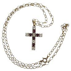 9ct Yellow Gold Ruby & Cubic Zirconia Cross Pendant Necklace