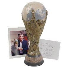 1982 Lladro Porcelain Copy Of The FIFA World Cup Presented To Peter Shilton